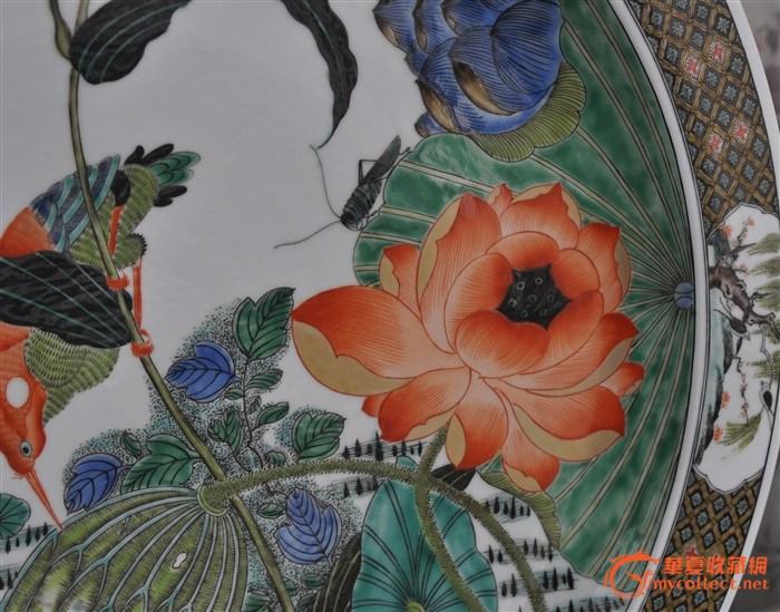 荷塘简笔彩色手绘