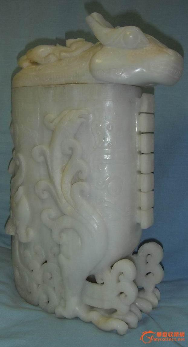 和田白玉龙头凤爪大瓶;重3196.3克.