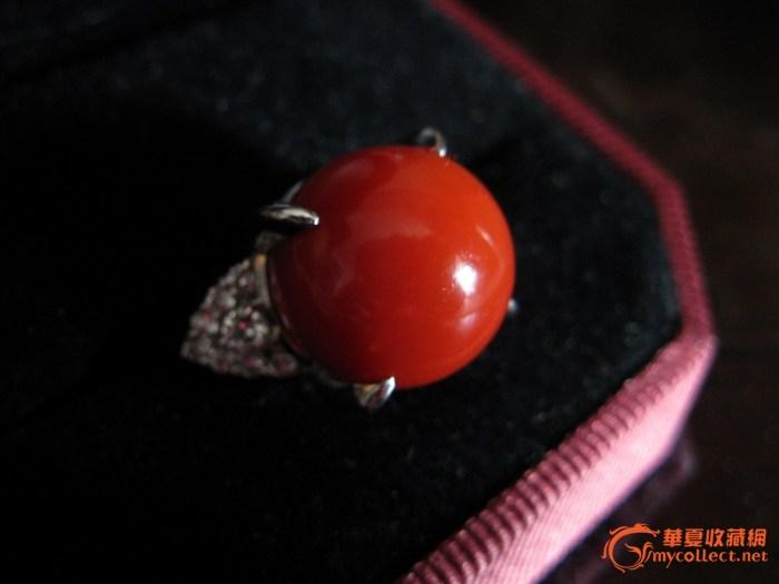 阿卡红珊瑚圆珠戒指