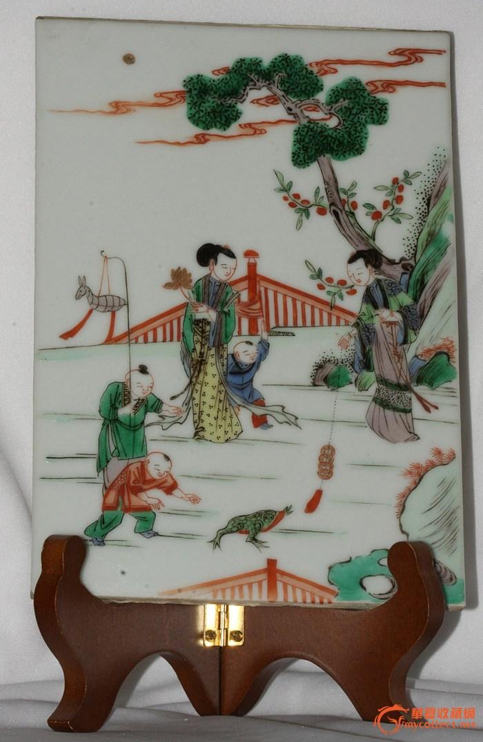 美国直邮  真正的民国婴戏人物 五彩瓷板 #2 转让