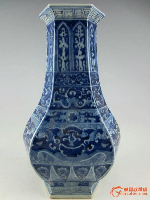 青花六角花瓶,高33厘米