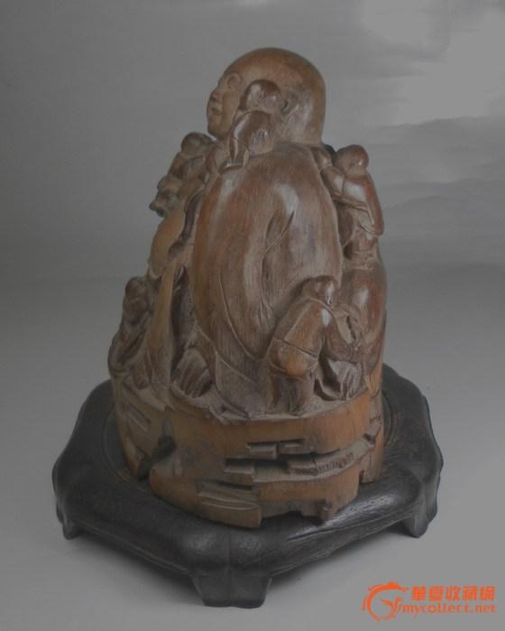 清代竹根雕 五子罗汉造像 开像清晰和善