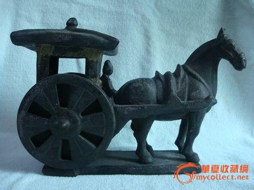 汉代瓷陶人物马车
