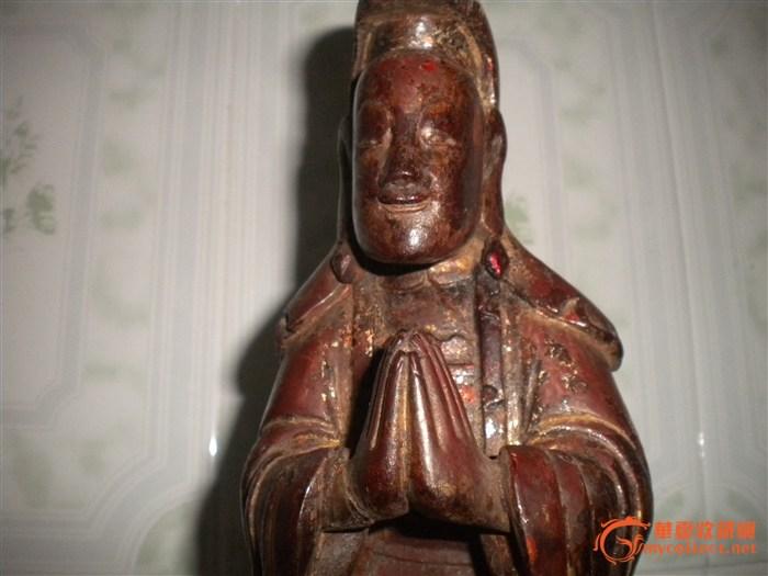 清中期香樟木木雕观音