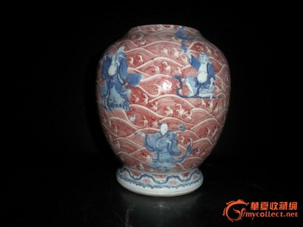 清.雍正青花釉里红八仙过海瓶