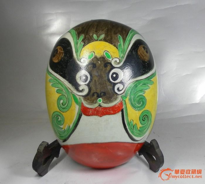 清代:五彩瓷塑大脸谱壁挂(高:24CM罕见品)