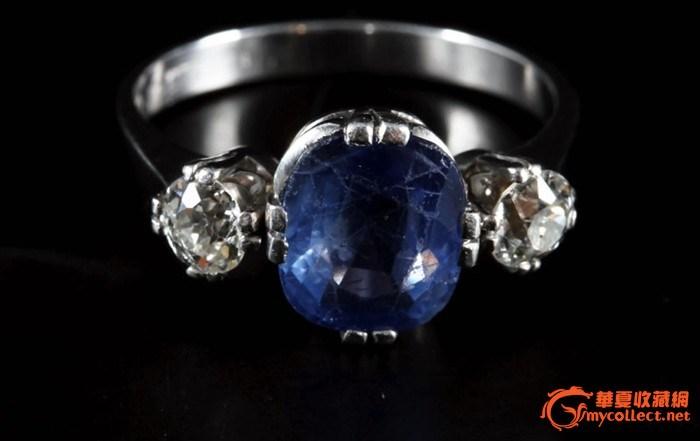 欧洲古董首饰-硕大天然18k蓝宝石钻石戒指