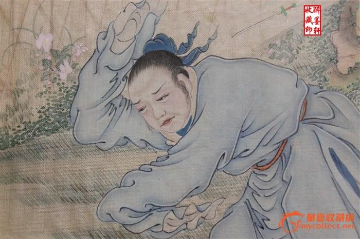 清代人物丝绸绘画