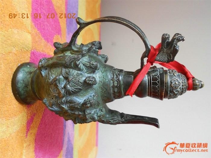 大明宣德年间制八仙过海铜酒壶,壶高18cm,壶宽11,5cm,壶底5cm,壶顶盖