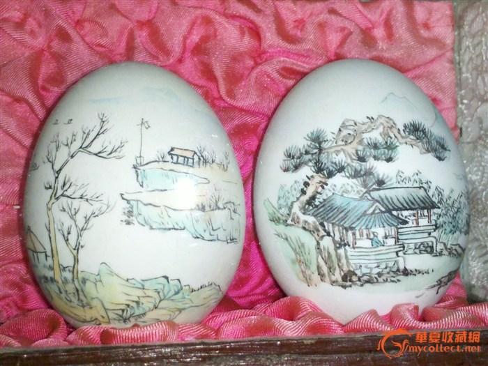 60年代蛋壳画,出口珍贵艺术品
