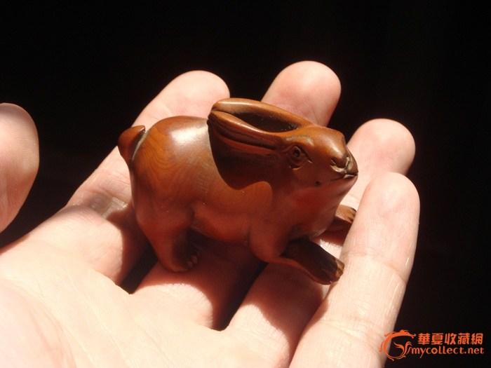 吉川款黄杨木雕小兔子