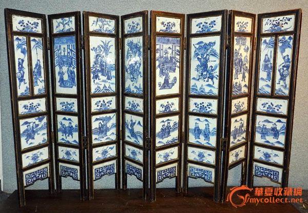 清晚期青花瓷板屏风