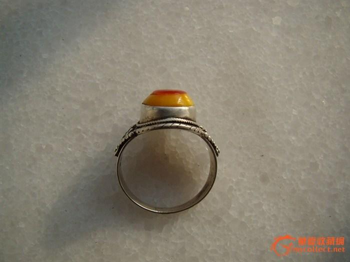 鹤顶红戒指纯银托