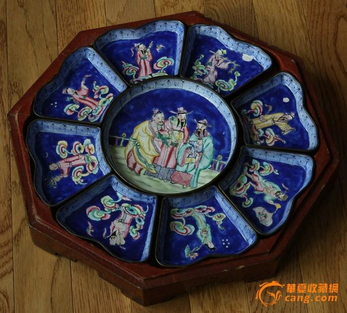 八仙过海+三星人 铜胎画珐琅九子盘带原配木漆盒