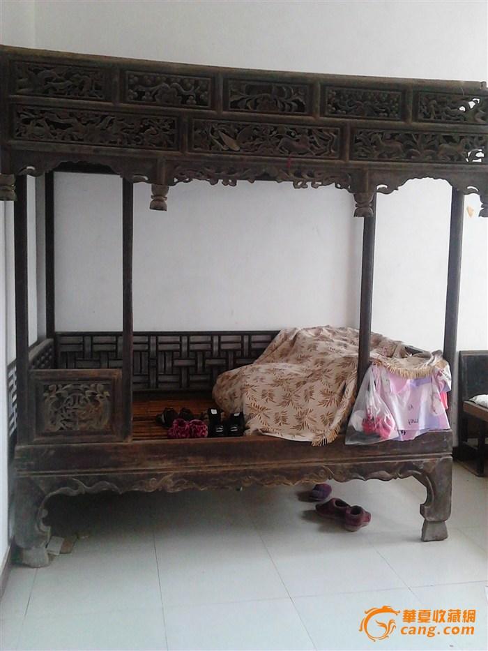 清朝 黑檀木顶子床