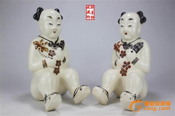 【成对】可爱的民国磁州窑吹竽瓷娃娃