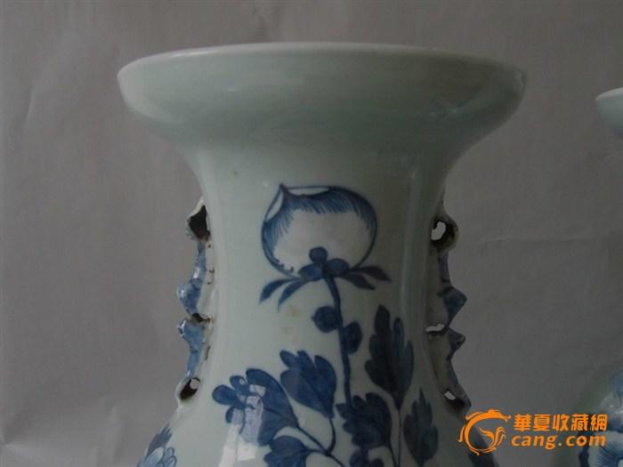 【成对】清道光双狮耳凤穿牡丹青花花瓶一对图片
