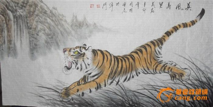 有神,皮毛彪炳斑斓,连毛色的光泽感也表现出来,才是画虎的最高境界.