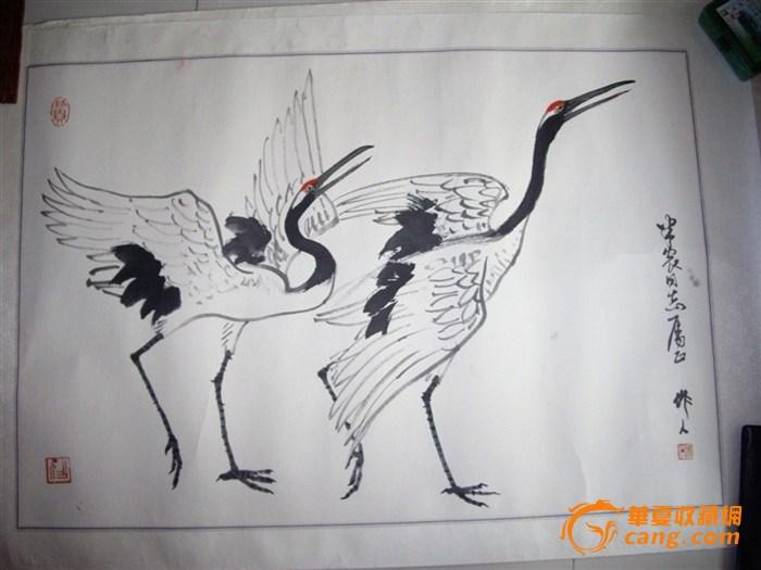 仙鹤飞手绘图片