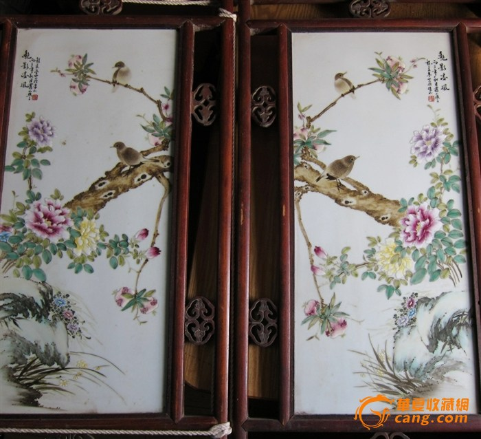 瓷板尺寸:30*60cm,画框非名贵木材,有蛀孔.