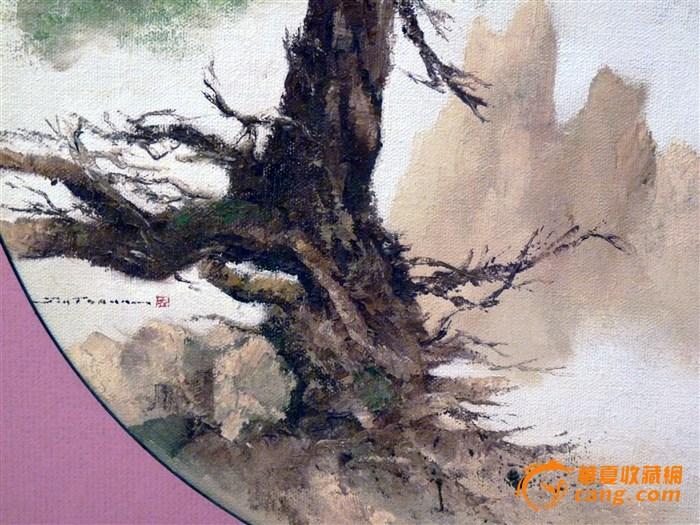 全画以黄山为背景,突出遒劲苍桑的千年黄山松.