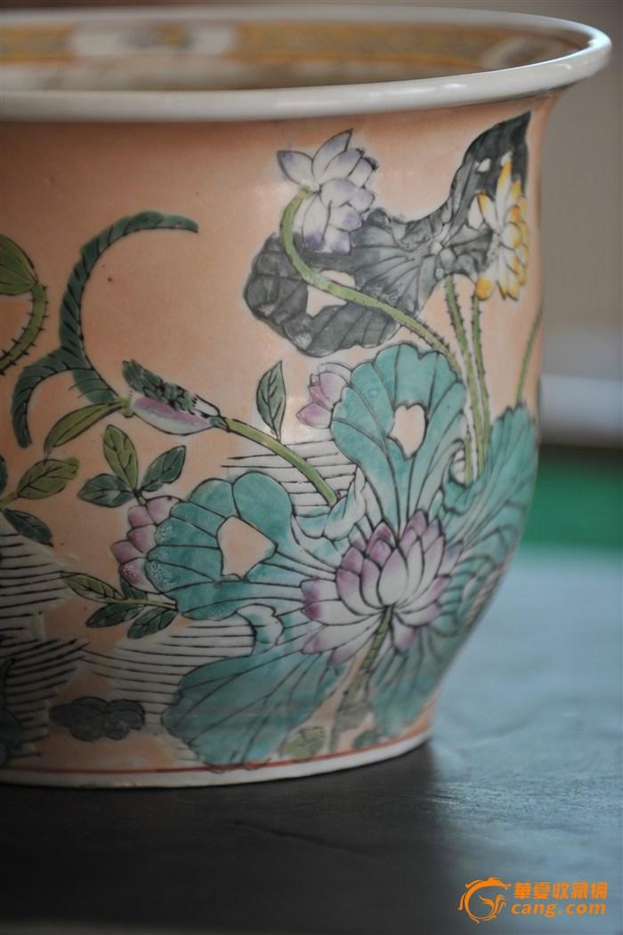 荷花纹花盆