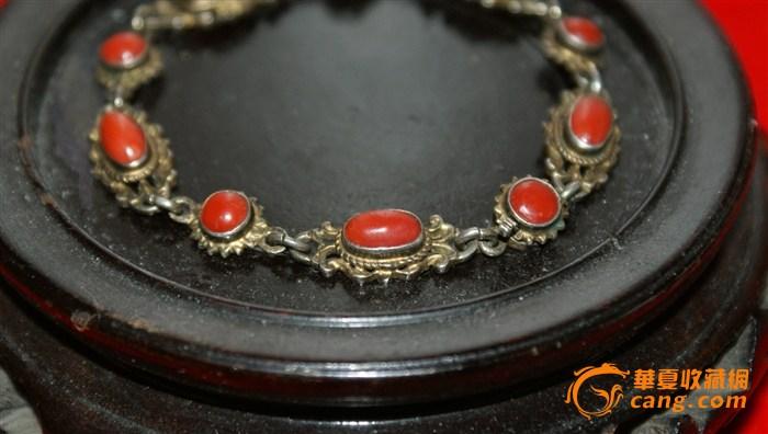欧洲老银嵌红珊瑚手链