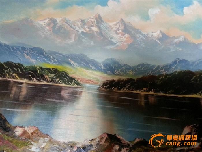 油画 西洋远山 风景