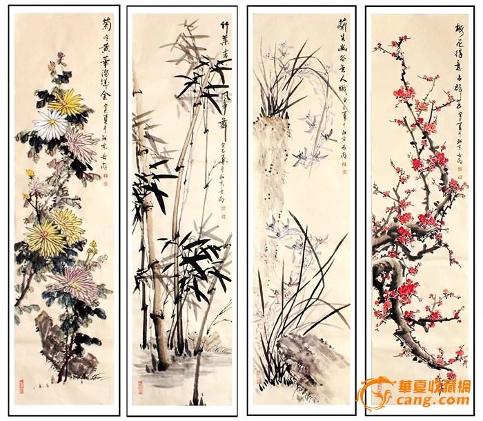 水粉古风人物画; 名家王长纯 仿古 梅兰竹菊 尺寸:138*35cm*4幅-图1