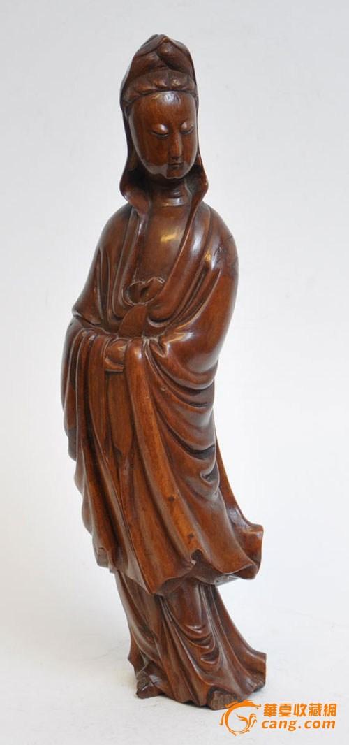 清代黄杨木雕观音像