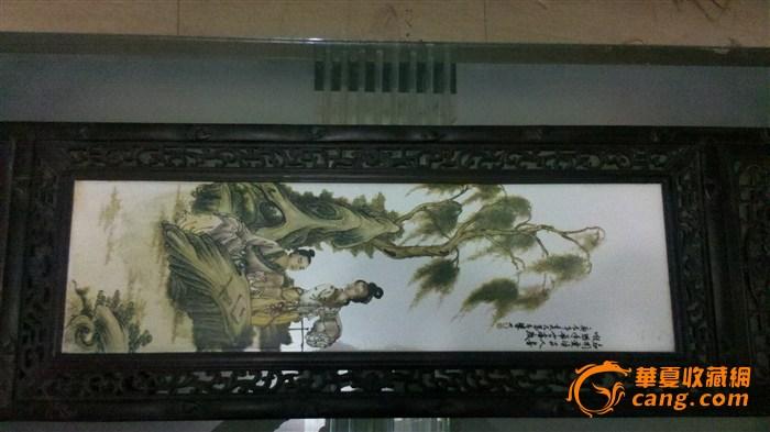 王大凡款琴棋书画四条屏瓷板画
