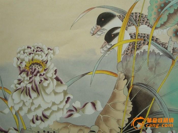 鸳鸯美术字画铅笔画-贾广健 鸳鸯荷花