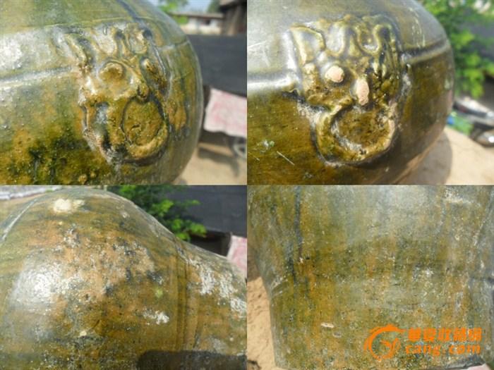 精品**绿釉大陶瓶,**瓷。精美完整,釉色漂亮,施釉均匀,釉色窑变黄绿两彩。绝对漂亮,普手也精致,胎体厚重,有少许土沁,和泛银,口沿有脱皮,品相如图,高32公分,口直径14.5公分,肚子周长71公分,古代瓷器的前身,唐三彩烧制工艺的前辈,值得收藏,先鉴定再出售,让朋友们放心喜欢的朋友看我地摊http://www.