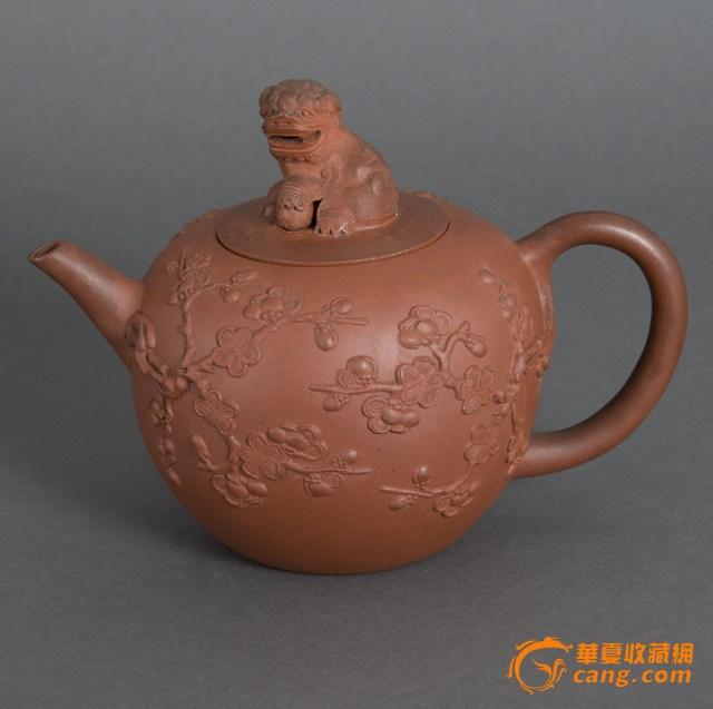 清中期刻花红泥紫砂壶