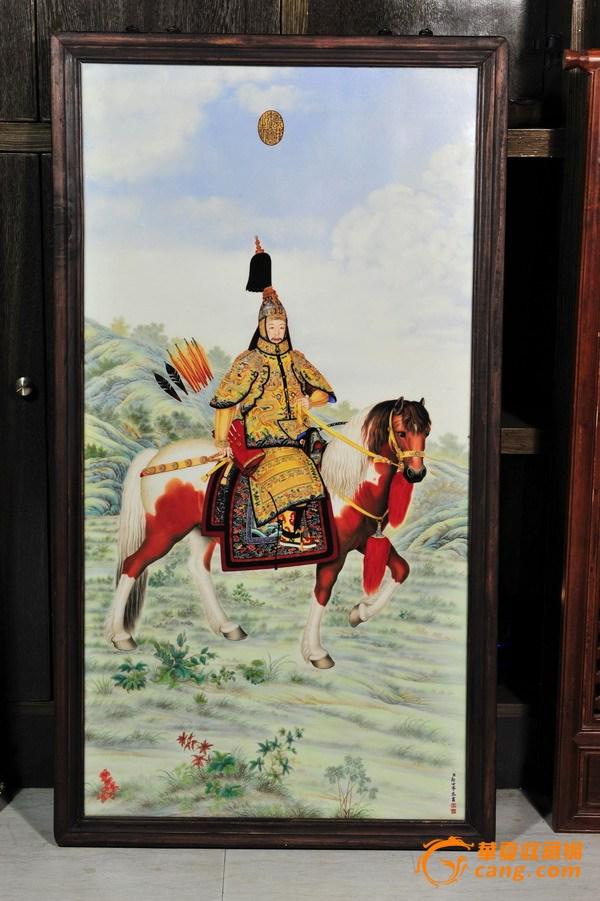 将军骑马瓷板画