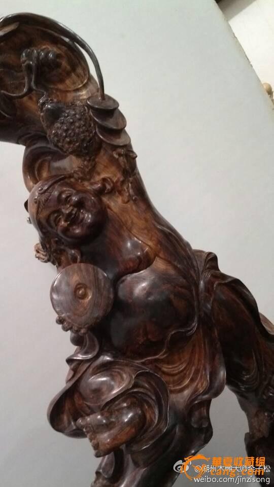 【潮州木雕大师金子松作品】越南黄花梨木雕--招财刘海