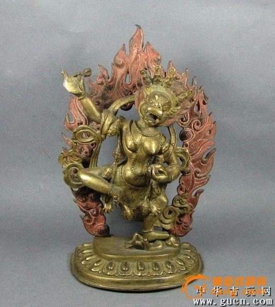 黑财神仹��_清代乾隆铜鎏金带矿五彩黑财神佛像