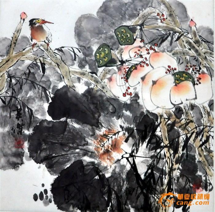 《荷花翠鸟图》--------英杰国画作品