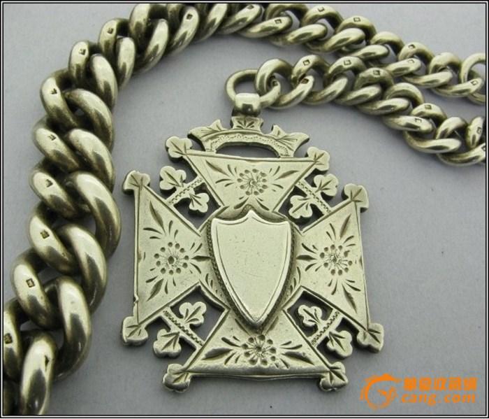艾伯特/1891实心纯银艾伯特的怀表链,一个巨大的新艺术风格的华丽的...