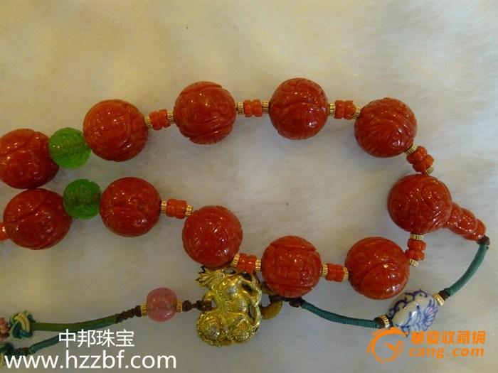 中国 红珊瑚/精细雕刻的红珊瑚圆珠,中国古代传统纹饰之一,寿字纹。