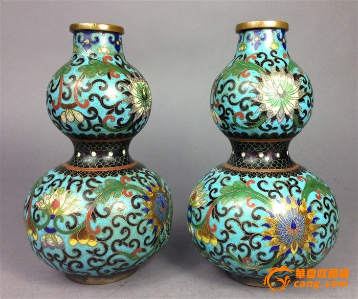 清代铜胎掐丝珐琅葫芦瓶