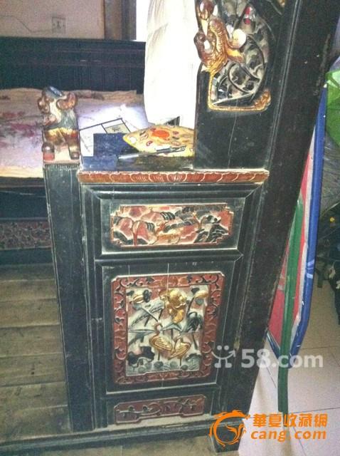 清末雕花木床,保存比较完好