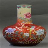 清中期镜面钧红釉加绘粉彩花鸟纹天球瓶 郎红釉加彩