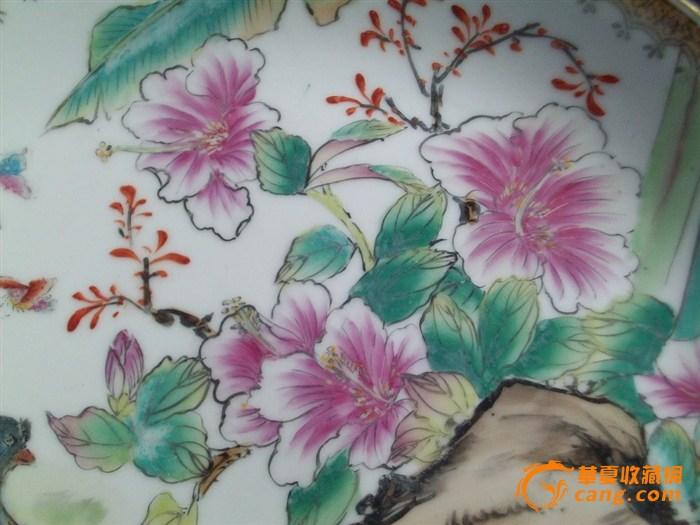 盘子 紫荆花与和平鸽 手绘图片