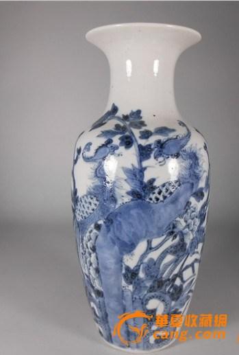 晚清凤穿牡丹纹观音瓶青花瓶