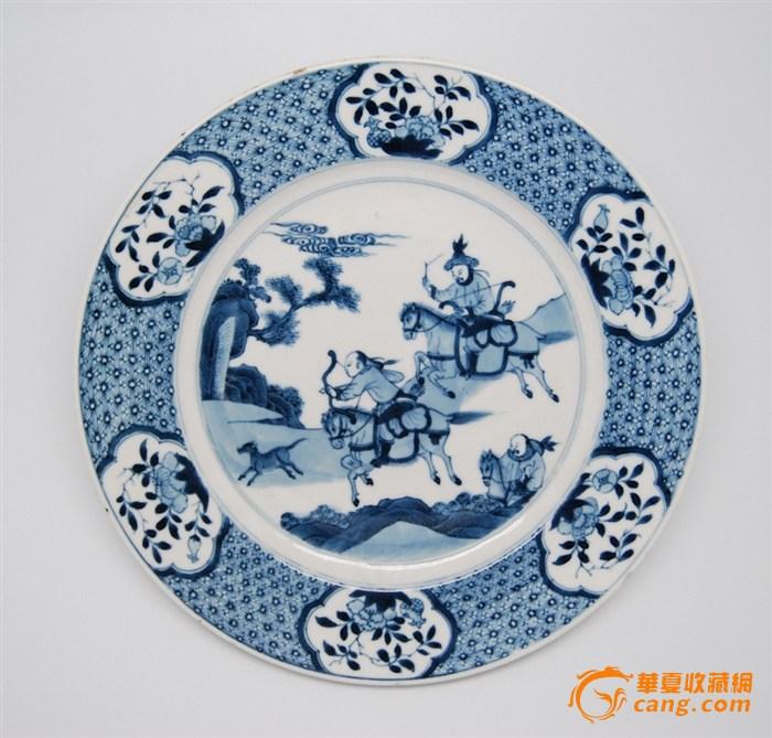 清康熙青花狩猎图盘 2