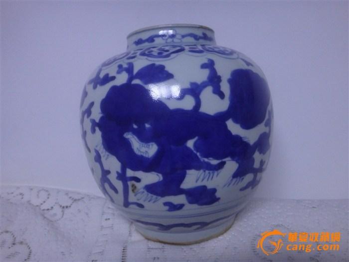 狮子穿花纹青花罐
