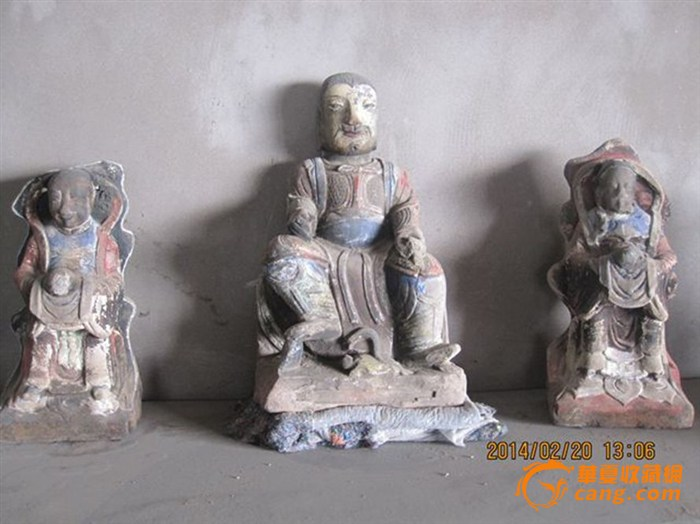 明代加彩真武童子石雕像一组图片