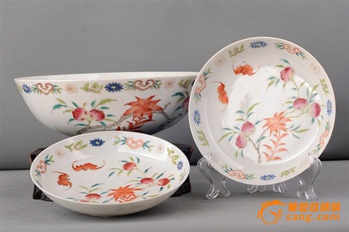 【峰会瓷】道光余庆堂制款粉彩福寿纹盘碗一组