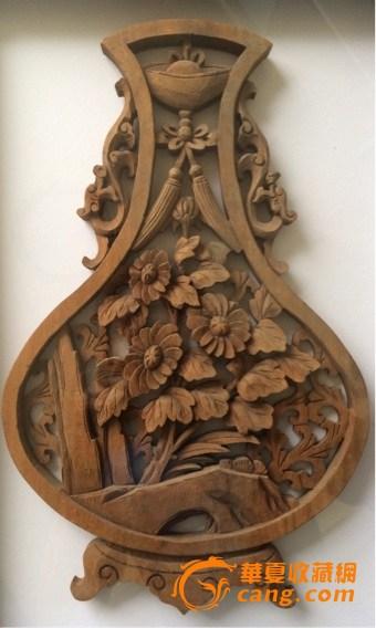 木雕花瓶一对